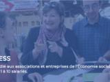 """des personnes se rencontrent autour de flyers, souriant. le titre """"urgencESS"""" et """"le fonds dédié aux associations de l'ESS de 1 à 10 salariés"""" est écrit dessus l'image"""