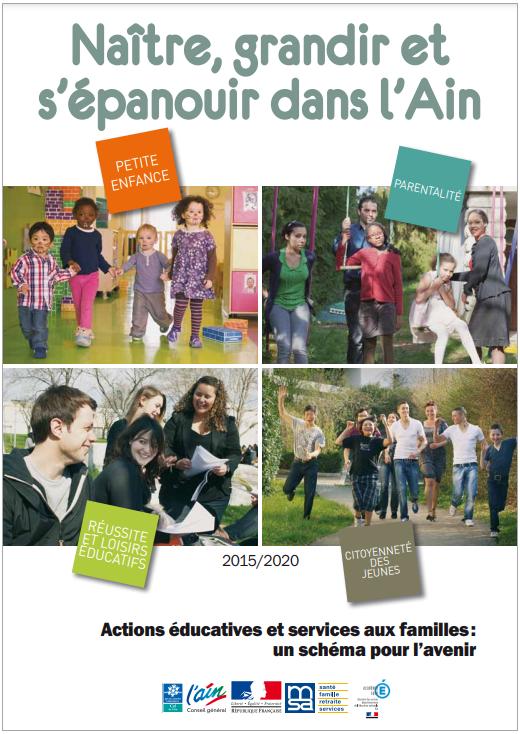 Couverture du Le schéma départemental des actions éducatives et des services aux familles : montage de photos de jeunes et enfants