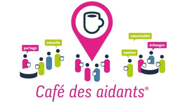 """Le café des aidants : illustration de personnages échangeant autour d'un café. des mots comme """"partage, soutien, échanges, convivialité"""" apparaissent."""